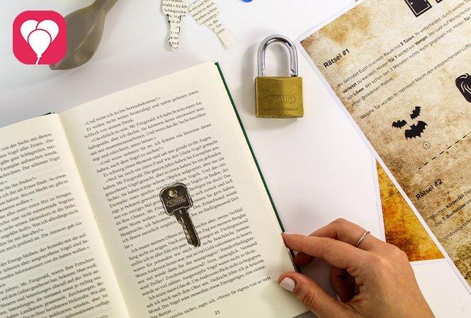 Escape Room für Kinder - Schlüsselversteck im Buch