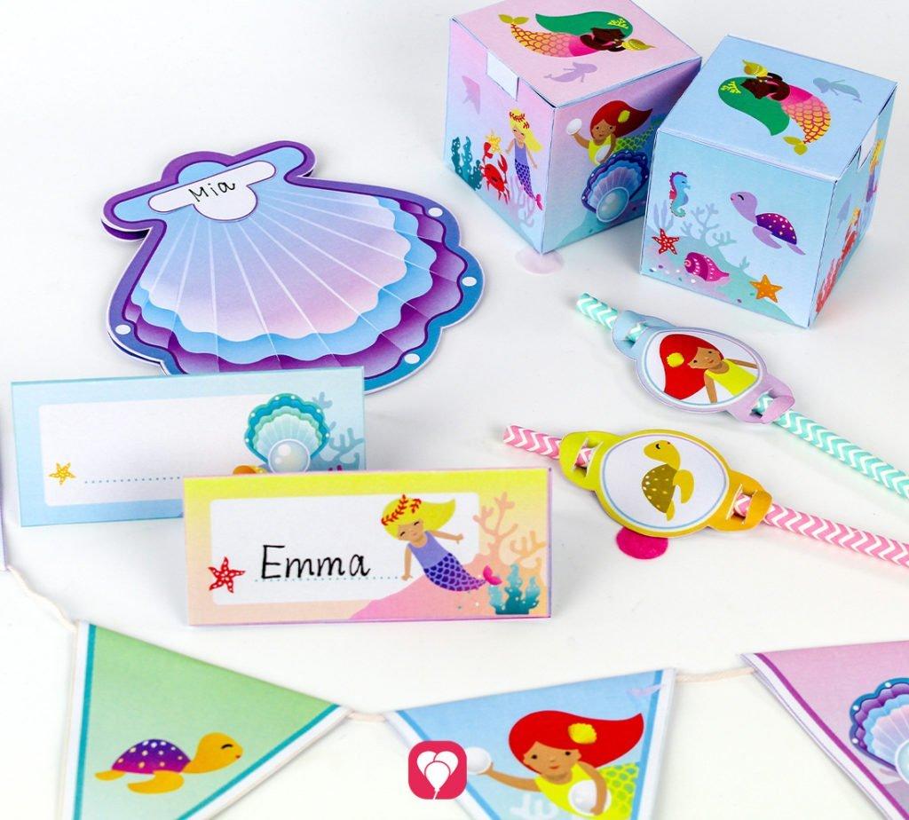 Meerjungfrau Geburtstagspaket passend zum Meerjungfrau Angelspiel selber machen