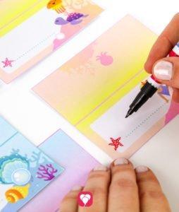 Meerjungfrau Tischkarten und Strohhalmdeko - Tischkarten beschriften