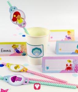 Meerjungfrau Geburtstagspaket - Tischkarten und Strohhalm Deko