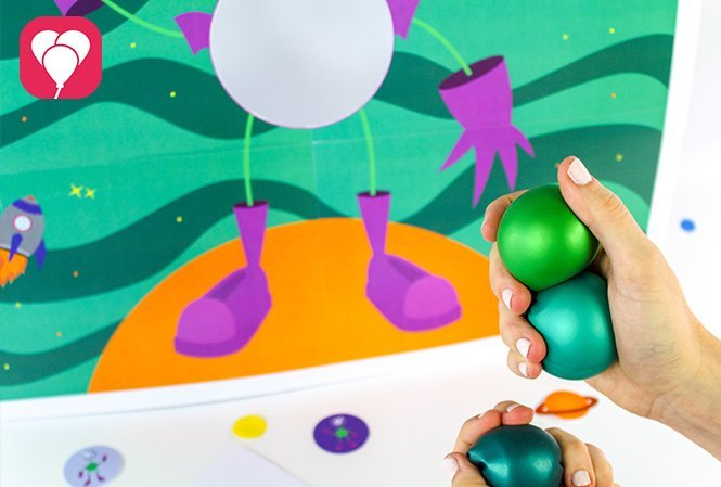 Weltraum Spiel mit Wurfbällen