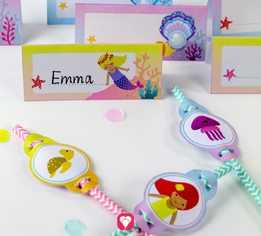Mermaid Place Cards and Straws - balloonas