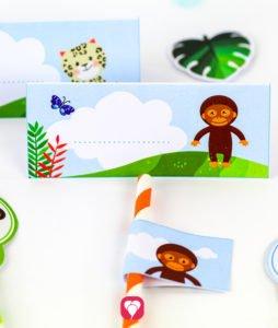 Safari Geburtstagspaket - Tischkarten und Strohhalm Deko