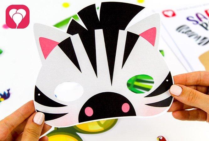 Tierische Masken basteln für den Safari Kindergeburtstag Zebra