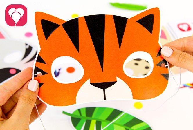 Tierische Masken basteln für den Safari Kindergeburtstag Tiger