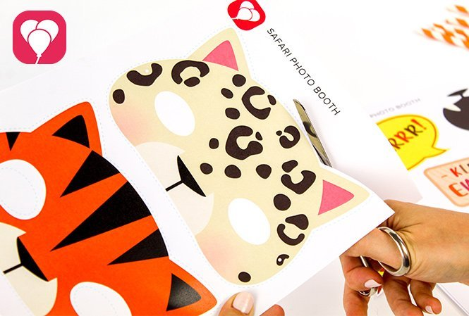Tierische Masken basteln für den Safari Kindergeburtstag ausscheiden