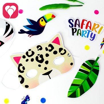 Tiermasken basteln für den Safari Kindergeburtstag