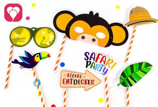 Tierische Masken basteln für den Safari Kindergeburtstag Vorlage Photo Booth