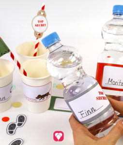 Detective Bottle Labels and Cup Labels - balloonas
