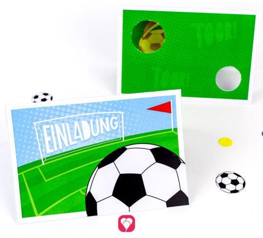Fußball Einladung mit Torwand - balloonas