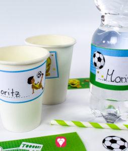 Fußball Flaschenetiketten und Becherschilder - balloonas