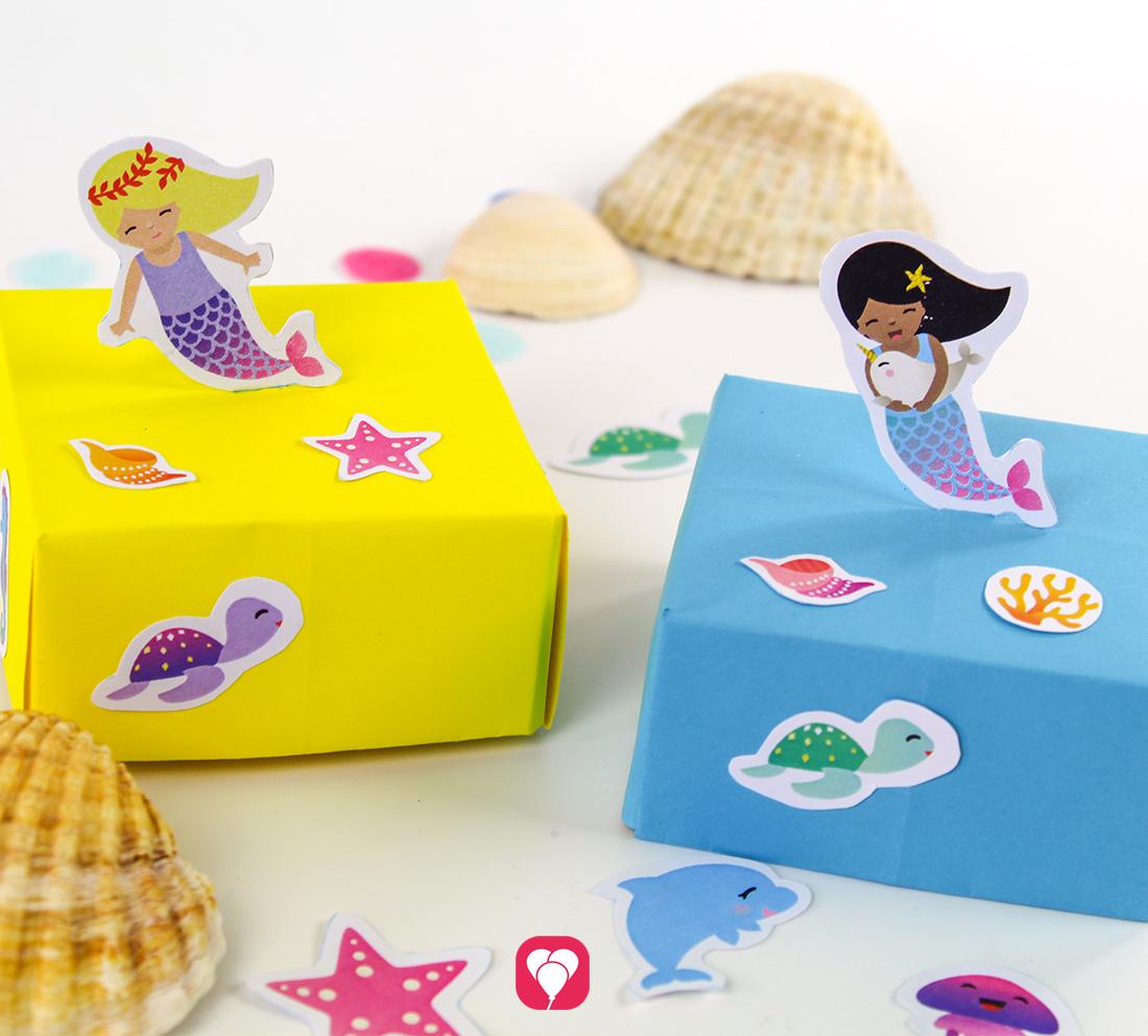 DIY Meerjungfrau Schachtel als Geschenkverpackung