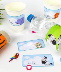 Safari Flaschenetiketten und Becherschilder - balloonas