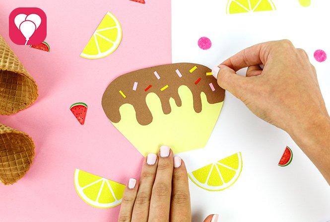Eiswaffel Deko für die Ice Cream Party - Sprinkles aufkleben