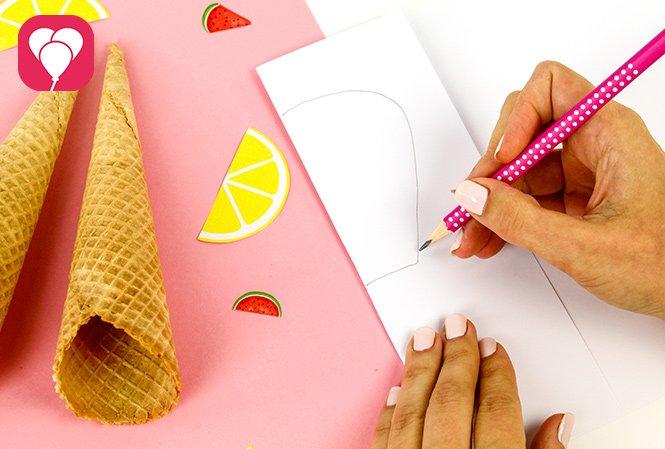 Eiswaffel Deko für die Ice Cream Party - Schablone entwerfen