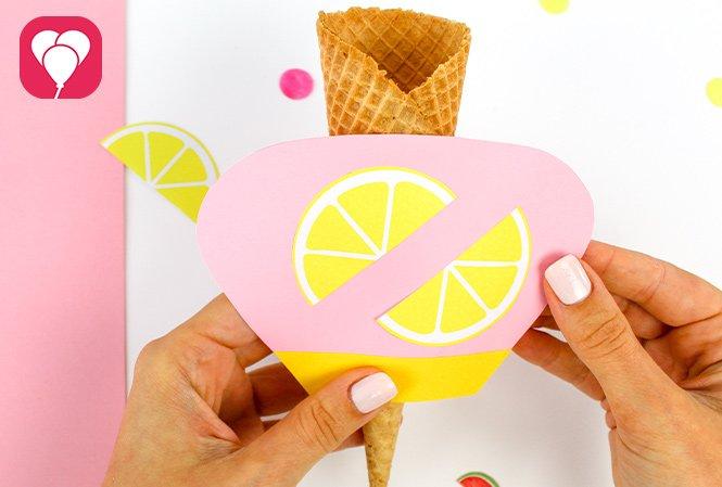 Eiswaffel Deko für die Ice Cream Party - Zitrone