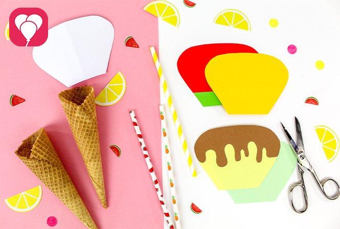 Eiswaffel Deko für die Ice Cream Party - das brauchst Du