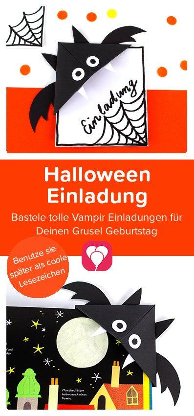 Halloween Einladung basteln - Pinterest Pin balloonas