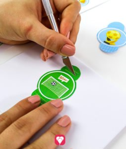 Soccer Place Cards and Straw Decor - cut out flaps with cutter knife