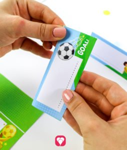 Soccer Place Cards and Straw Decor - fold place cards
