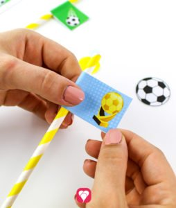 Soccer Place Cards and Straw Decor - glue decor to straw