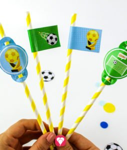 Soccer Place Cards and Straw Decor - straw decor