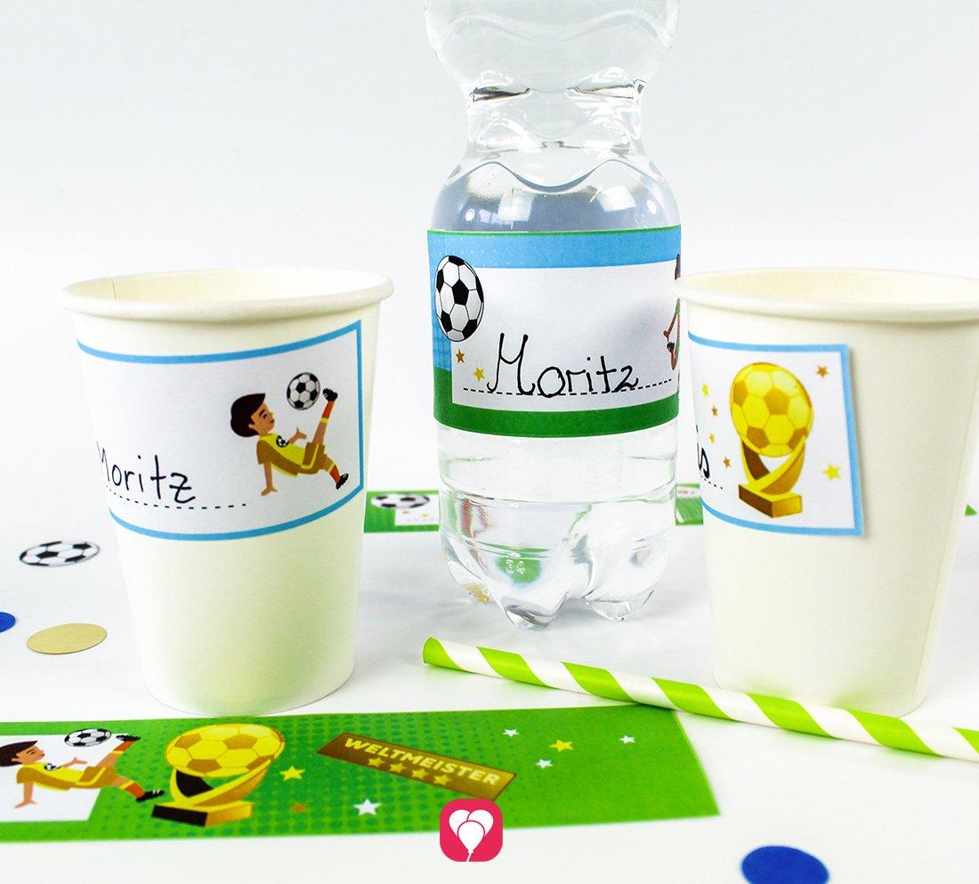 Fußball Flaschenetiketten und Becherschilder