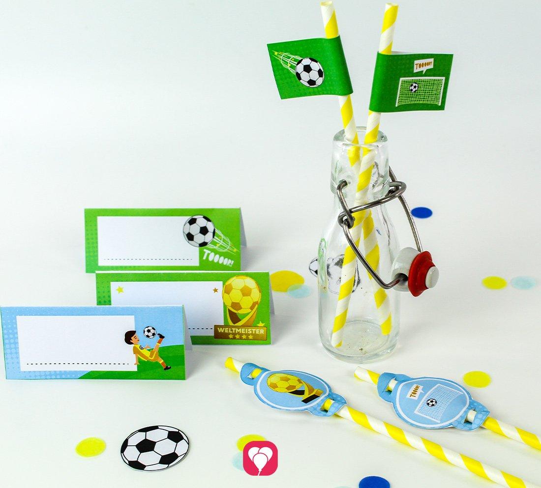 Fußball Tischkarten und Strohhalm Deko
