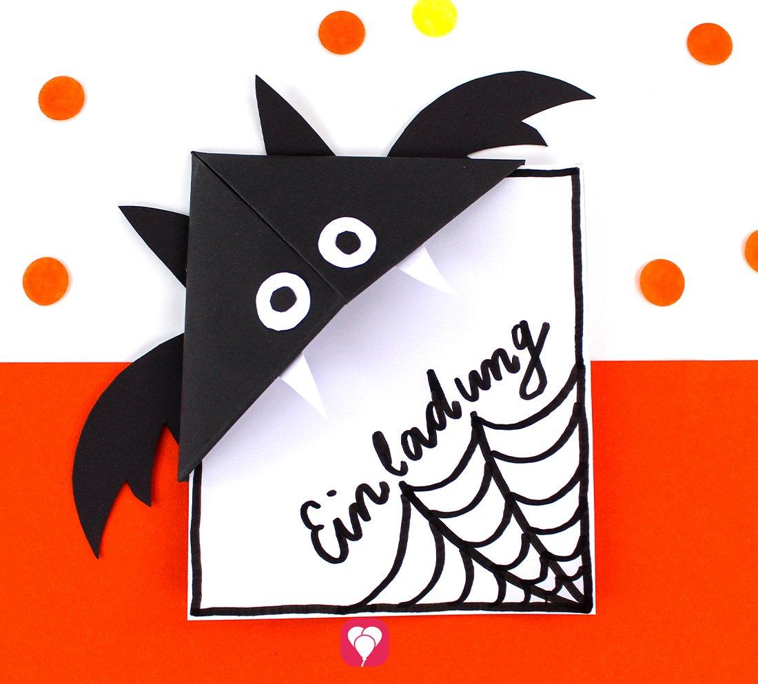 Fledermaus Einladung inklusive Lesezeichen