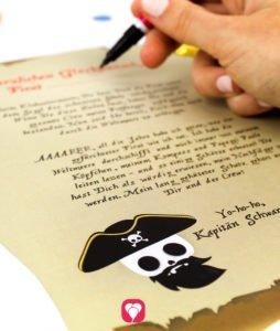 Piraten Schatzsuche - Piratenurkunde ausfüllen