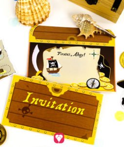 Invitation Pirates Treasure Chest - balloonas