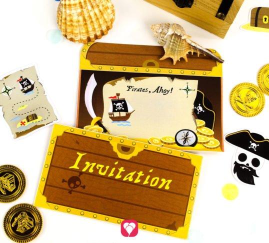 Invitation Pirates Treasure Chest - balloonas