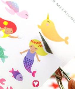 Meerjungfrau Geschenkaufkleber - Motive ausschneiden