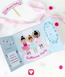 Ballerina Geburtstagsset Basic - Einladung