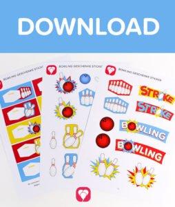 Bowling Geschenkaufkleber - Download