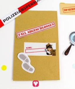 Detektiv Geschenkaufkleber - Motive auf Tüte kleben