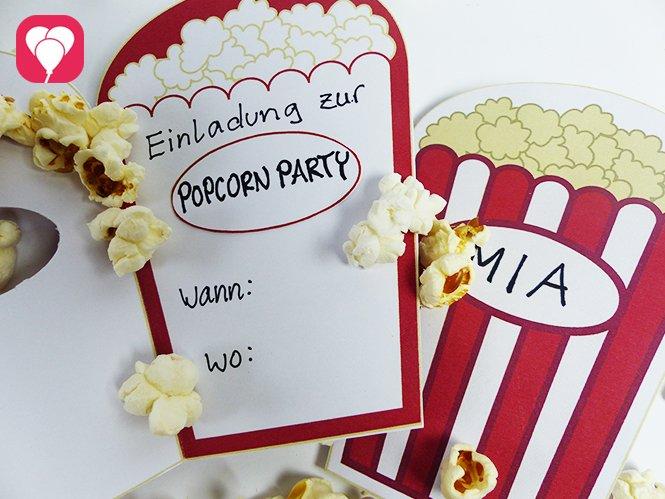Kino Geburtstag mit Popcorn Einladung