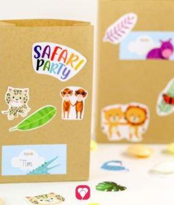 Safari Geburtstagsset Basic - Geschenkaufkleber