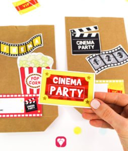 Cinema Party Stickers - stick motifs to paper bag