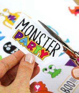 Monster Geschenkaufkleber - Motiv ausschneiden
