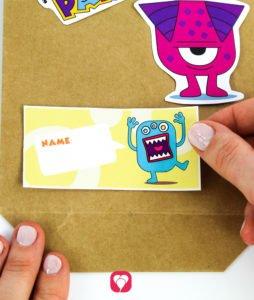 Monster Geschenkaufkleber - Namensschilder auf Tüte kleben