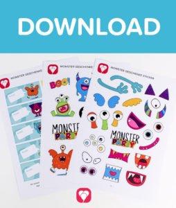 Monster Geschenkaufkleber - Download