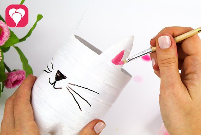 Upcycling Blumentopf bemalen - Katzenohren