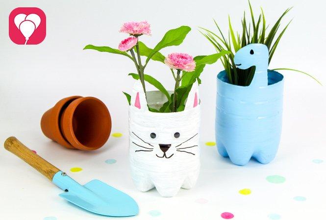 Upcycling Blumentopf bemalen - Dino und Katze