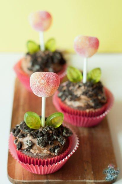 backen mit Kindern - Blumentopf Cupcakes