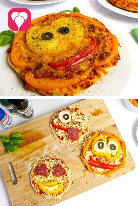 Spiele Ideen drinnen für Kinder ab 3 Jahren - Emoji Pizza