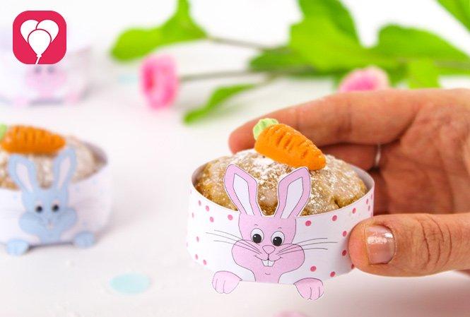 basteln mit Kindern - Hasen Cupcake Deko