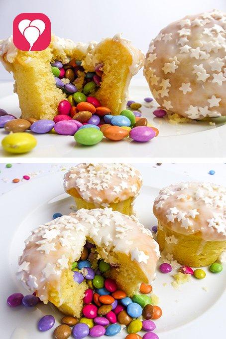backen mit Kindern Pinata Muffins - balloonas