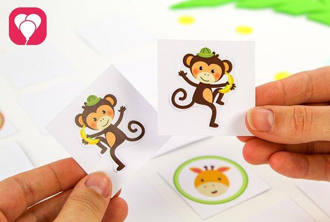 basteln mit Kindern - Safari memory Spiel