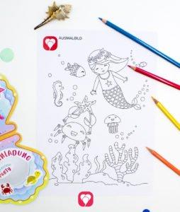 Meerjungfrau Ausmalbild - balloonas